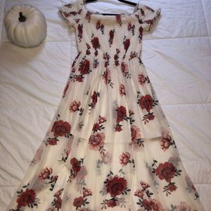 Off the Shoulder White Floral Maxi Dress